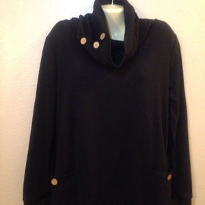Leo Rosi Cassie Cowl Neck Long Sleeve Top Pockets